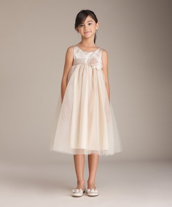 Champagne Roses Babydoll Dress - Girls