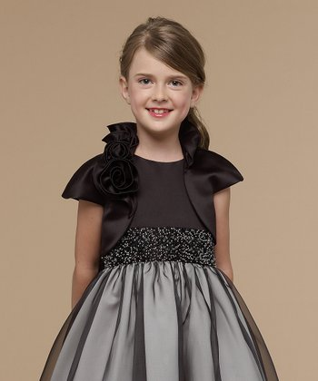 Black Satin Rosette Bolero  - Infant, Toddler & Girls