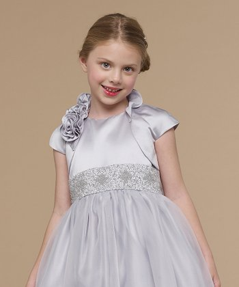 Pewter Satin Rosette Bolero - Infant, Toddler & Girls