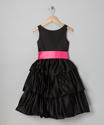 Black & Fuchsia Tiered Dress - Toddler & Girls