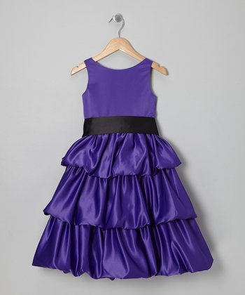 Purple & Black Tiered Dress - Toddler & Girls