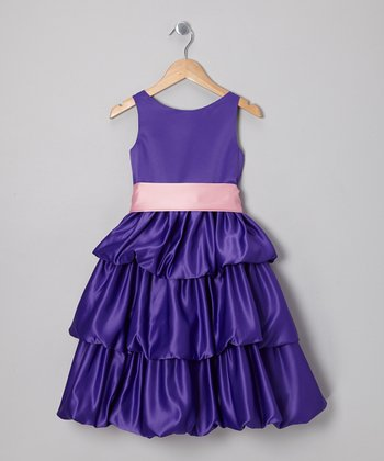 Purple & Rose Tiered Dress - Toddler & Girls