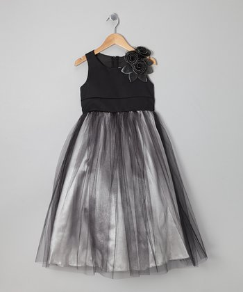 Silver & Black Rosette Tulle Dress - Toddler