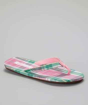 Pink & Green Plaid Flip-Flop