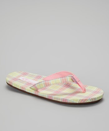 Pink & Yellow Plaid Flip-Flop