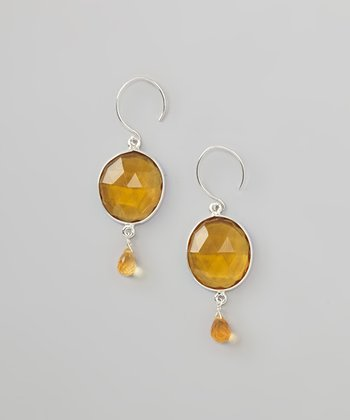 Daisy Yellow Quartz & Citrine Teardrop Earrings