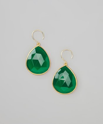 Emerald Green & Gold Faceted Teardrop Earrings