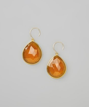 Daisy Yellow & Gold Faceted Teardrop Earrings