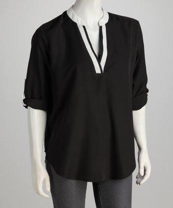 Black & White Three-Quarter Sleeve Top - Women