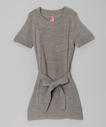Gray Belted Sweater Dress - Girls