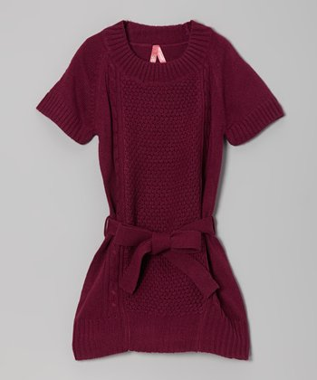 Maroon Belted Sweater Dress - Girls