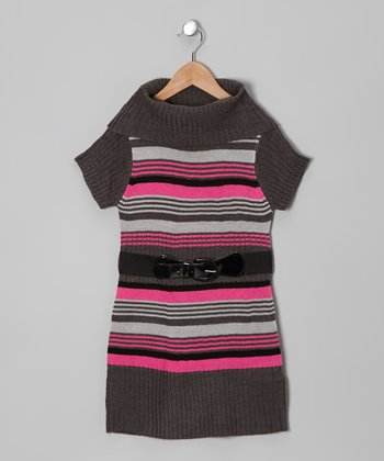 Gray & Pink Stripe Belted Cowl Neck Dress - Toddler & Girls