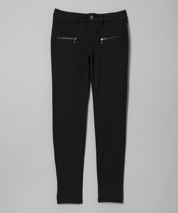 Black Zip-Pocket Skinny Pants - Girls