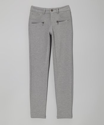 Gray Zip-Pocket Skinny Pants - Girls