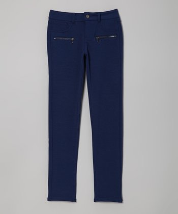 Navy Zip-Pocket Skinny Pants - Girls