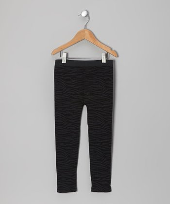 Gray & Black Wave Stripe Leggings - Girls