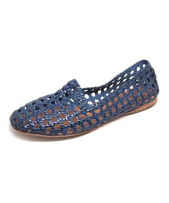 Blueberry Agra Burnished Leather Flat