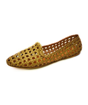 Gold Agra Metallic Leather Flat