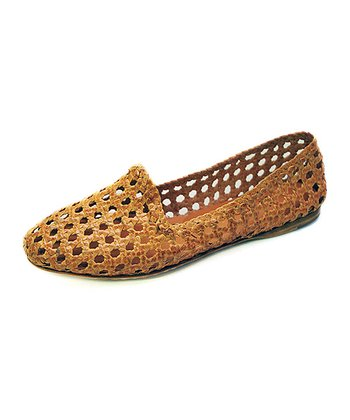 Wheat Agra Burnished Leather Flat