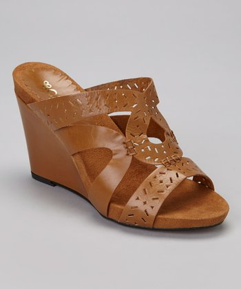 Cognac Gloria Leather Sandal