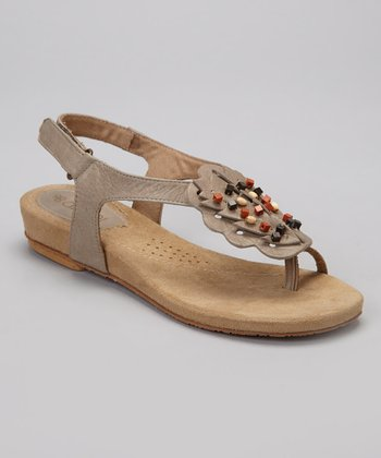 Taupe Clarissa Leather Sandal