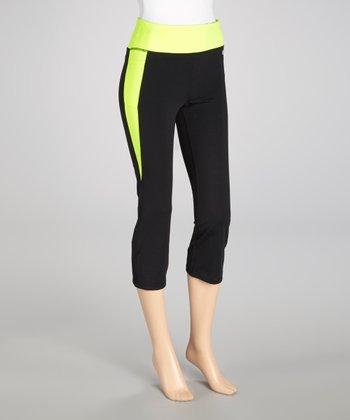 Black & Neon Lime Contrast Capri Pants