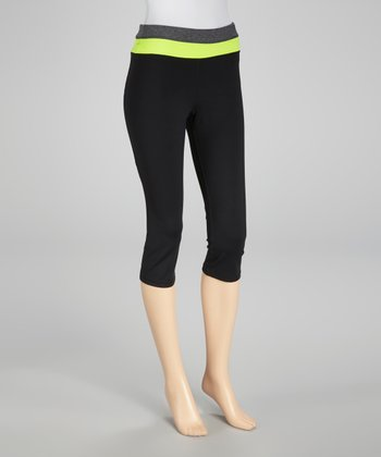 Black & Neon Lime Capri Pants