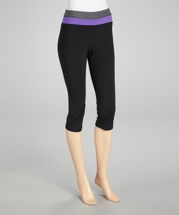Black & Neon Purple Capri Pants