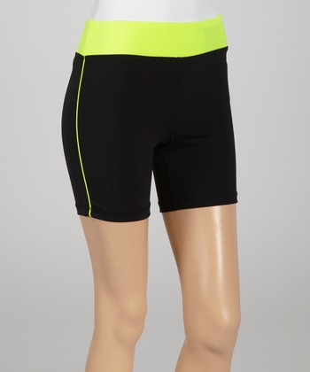 Black & Neon Lime Bike Shorts