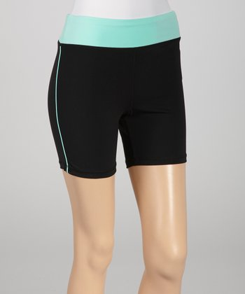 Black & Neon Mint Bike Shorts