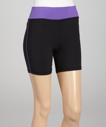 Black & Neon Purple Bike Shorts