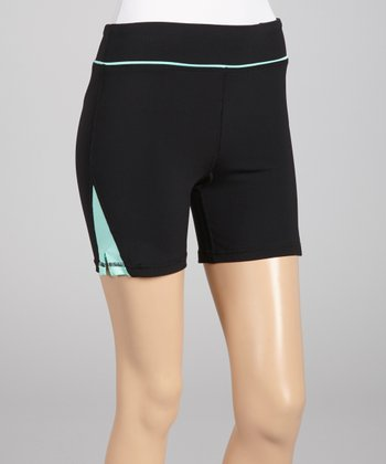 Black & Neon Mint Zip-Pocket Bike Shorts