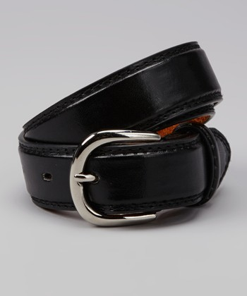 Black Round Buckle Leather Belt