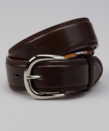 Brown Round Buckle Leather Belt