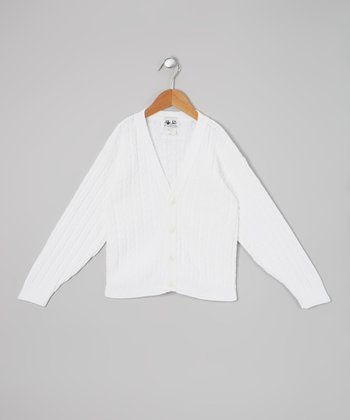 White Cable Cardigan - Boys