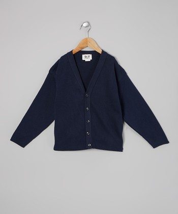 Navy V-Neck Cardigan - Kids