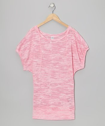 Baby Pink Stripe Twisted Semi-Sheer Burnout Dolman Tee - Girls