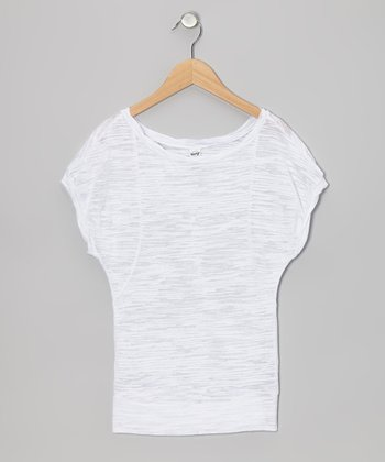 White Stripe Twisted Semi-Sheer Burnout Dolman Tee - Girls