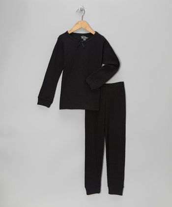 Black Thermal Top & Pants - Infant, Toddler & Girls