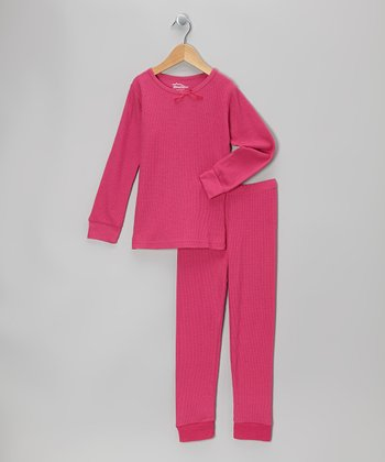 Dark Pink Thermal Top & Pants - Infant, Toddler & Girls