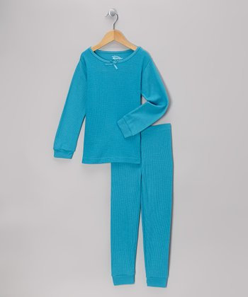 Teal Thermal Top & Pants - Infant, Toddler & Girls