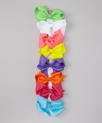 Summer Brights Bow Clip & Holder Set