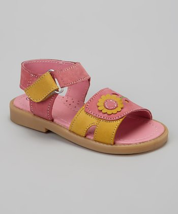 Pink & Orange Flower Double-Strap Sandal