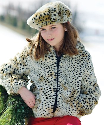 Tan Cheetah Faux Fur Hooded Jacket - Girls