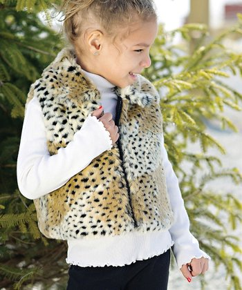 Tan Cheetah Faux Fur Vest - Toddler & Girls