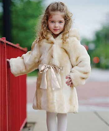 Champagne Faux Fur Hooded Coat - Toddler