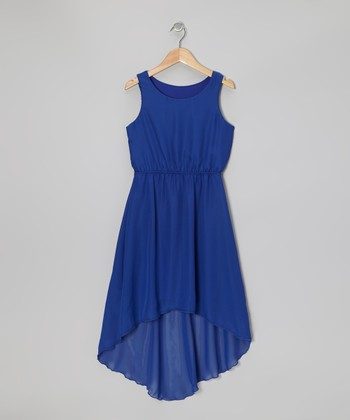 Royal Blue Chiffon Hi-Low Dress - Girls