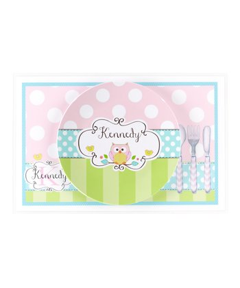 Pink, Green & Aqua Owl Personalized Dining Set