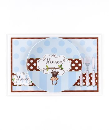 Blue & Brown Monkey Personalized Dining Set