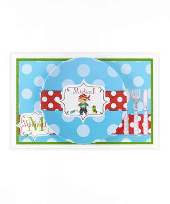 Blue & Red Pirate Personalized Dining Set